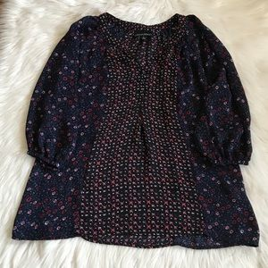 Cynthia Rowley Navy & Red Floral Blouse